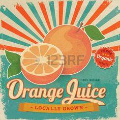 カラフルなヴィンテージ オレンジ ジュース ラベル ベクトル イラスト ポスター photo
