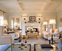 Gorgeous tonal living room by Joseph Kreme in a Hamptons home designed by Shope Reno Wharton. #LampsLivingRoom