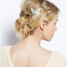 Beautiful Boho Gold Butterfly Hair Clips Wedding Hair Head Jewelry