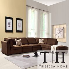 Tribecca Home Barnsley Collection Dark Brown Polyester 6-piece Sectional Set | Overstock.com Shopping - The Best Deals on Sectional Sofas