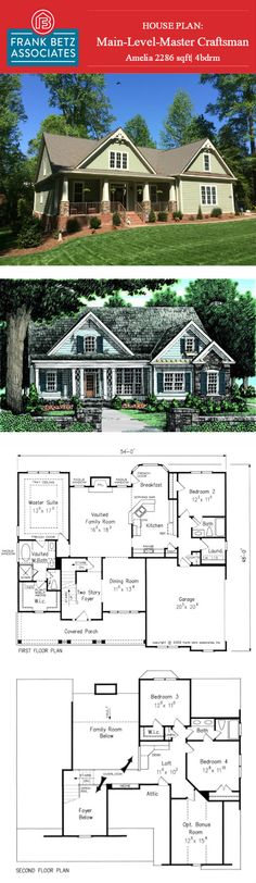 Amelia: 2286sqft|4bdrm main-level-master Craftsman designed by Frank Betz Associates Inc. #houseplan #ameila #dreamhouse