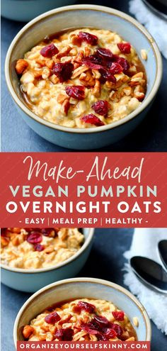 Make-Ahead Vegan Pumpkin Overnight Oats | Easy Breakfast Idea - Looking for the perfect Fall breakfast? These oats are made with pumpkin puree, greek yogurt, pumpkin spice, and sweetened with just the right amount of pure maple syrup. It's truly like fall in a jar! If you wait all year to enjoy pumpkin spice, then make sure to put this wholesome delicious breakfast on the meal plan. Organize Yourself Skinny | Oats Breakfast | Meal Prep Breakfast | Healthy Eating #breakfast #overnightoats…