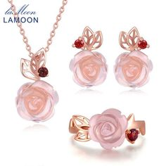 Pink Flower 925 Sterling Silver Jewelry Sets For Women Natural Gemstone Rose Quartz Wedding Necklace Earrings Rings Jewelry