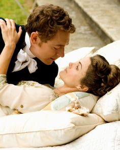 JJ Feild as Henry Nobley and Keri Russell as Jane Hayes in Austenland (2013).