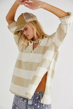 Striped Tee, Toddler Boys, Hooded Jacket, Free People, Baseball Hats, Style Inspiration, Tees, Sleeves, T Shirts