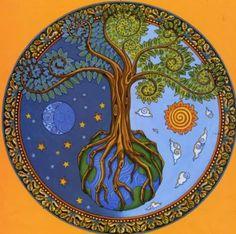 tree of life mandala Tree Of Life Art, Tree Art, Wiccan, Pagan, Stars And Moon, Sun Moon, Mandala Art, Sacred Geometry, Artsy