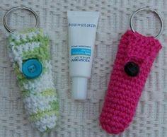 Crocheted Lip Balm Tube Key RIng | Craftsy