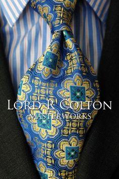 Lord R Colton Masterworks Tie - Las Lajas Blue & Gold Silk Necktie - $195 New #LordRColton #NeckTie