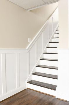It Yourself: Beautiful Staircase Board and Batten Do It Yourself: How to update and transform a basic basement staircase with board and batten.Do It Yourself: How to update and transform a basic basement staircase with board and batten. Basement Staircase, Staircase Remodel, Staircase Makeover, Basement Makeover, Basement Bedrooms, Basement Flooring, Basement Bathroom, Basement Ceilings, Basement Bars