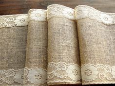 Burlap table runner with lace--I want it.