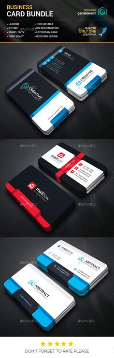 Business Card Bundle 3 in 1 Template PSD #design #visitcard Download: http://graphicriver.net/item/business-card-bundle-3-in-1_vol31/13107271?ref=ksioks