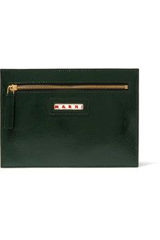 Marni Crinkled patent-leather pouch   THE OUTNET