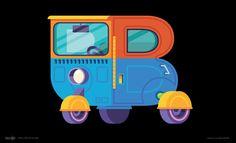 Illustration letter B as B-vehicle