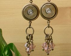 Bullet Jewelry 44 Magnum Remington Bullet Casing Earrings Camo Pink Crystals