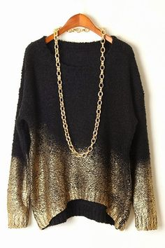 Gradient loose fit sweater with chain fashion style | Women Fashion Galaxy