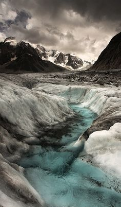 glacial stream, Mont Blanc, France