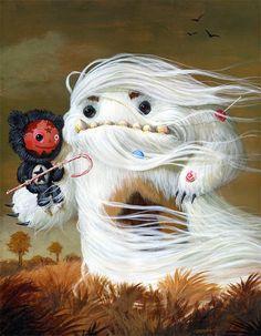 Boy Meets Monster 16 x 20 acrylics on canvas ( 2009 ) by Mark Brown www. Cute Monsters, Little Monsters, Illustrations, Illustration Art, Mark Brown, Big Brown, Mark Ryden, Lowbrow Art, Monster Art