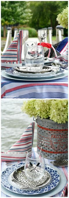 Lakecation Tablescape on dock | ©homeiswheretheboatis.net #LKN #tablescapes #lake #summer #fish