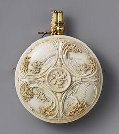 Powder flask, late 17th century  German  Ivory, silver-gilt, steel  H. 5 3/4 in. (14.5 cm), Diam. 4 1/4 in. (10.8 cm)