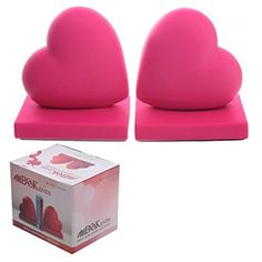 Pair of Heart Bookends - Pink