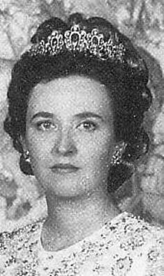 Spain's King Juan Carlos' sister Pilar in younger days wearing her Sapphire and Diamond Tiara - originally from Princess Louise of  Orleans - to her daughter Princess Maria de las Mercedes who became the Countess of Barcelona and mother of today's King Juan Carlos - to her daughter Pilar