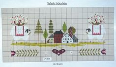 *Balade irlandaise, free point de croixxx*                                                                                                                                                                                 Plus Sheep Cross Stitch, Cross Stitch House, Cross Stitch Boards, Hand Embroidery Patterns, Cross Stitch Embroidery, Cross Stitch Patterns, Little House Needleworks, Cross Stitch Freebies, Theme Noel