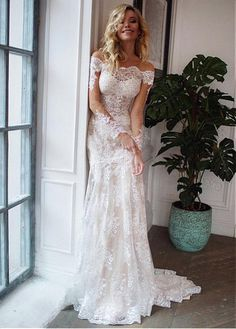 8502ebc8685 Magbridal Charming Tulle Off-the-shoulder Neckline 2 In 1 Wedding Dresses  With Lace