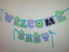 Welcome Baby shower banner Monsters Inc. by PurplePaperCrafts, $25.00