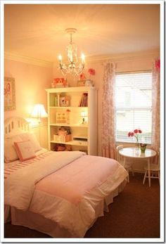 girls bedroom idea...I want to have a chandelier in every female room of the house!