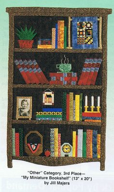 "Bookcase quilt idea. Okay, how to resist this idea -- combining two favorite things, books and quilting! May have to do with the original size being 13"" by 20"", that's a lot of little pieces!"