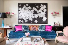 Decorating with Color / Beautiful Blue Sofa