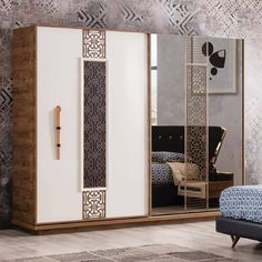 Our Versace Bedroom Set Wardrobe Door Designs, Wardrobe Design Bedroom, Bedroom Bed Design, Bedroom Furniture Design, Home Room Design, Bedroom Sets, Glass Wardrobe, Almirah Designs, Bedroom Cupboard Designs