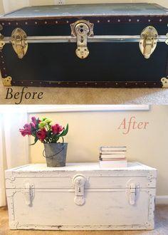 Something Ivory: DIY Leather Trunk Makeover Refurbished Furniture, Paint Furniture, Furniture Projects, Furniture Makeover, Old Trunks, Vintage Trunks, Trunks And Chests, Trunk Redo, Trunk Makeover