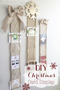 Using burlap (this blogger specifically used lace floral burlap), 1/4″ to 1/2″ coordinating ribbon, scissors, hot glue, and measuring tape, you can make this marvelous display in just 30 minutes. Get the tutorial at Capturing Joy.