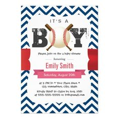 Baseball Theme Blue Chevron It's a Boy Baby Shower Card