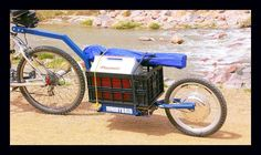 Get the plans here electricbicycletrailer.com What is a Push Trailer?  In this case, it's an Electric Powered Bicycle Trailer that let's you carry cargo as it also provides propulsion for your bike.
