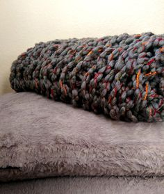 Funky Chunky Arm Knit Blanket. Unique Colors by The Snugglery