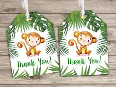 Gift Tags Monkey Zoo Birthday Party theme Tropical Favor Thank