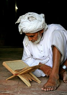 Old man reciting holy Qur'an at the mosque near the shrine of Jalal-uldin shah, Uch sharif, Punjab by Iqbal Khatri People Around The World, Around The Worlds, People Reading, Love In Islam, Amazing India, Indian People, Arab Men, Arabian Nights, Holy Quran