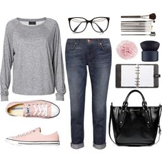 Outfit ideas. Rolled jeans. Grey sweatshirt. Casual and cute. .. I want these pink Converse shoes.