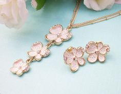 Spring Bride Floral Necklace And Earrings Set by Alwaysabridesmade, $22.50