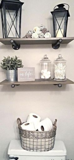 This Industrial Farmhouse Bathroom is the perfect blend of styles and creates such a cozy atmosphere! This Industrial Farmhouse Bathroom is the perfect blend of styles and creates such a cozy atmosphere! Downstairs Bathroom, Bathroom Renos, Bathroom Small, Bathroom Storage, Bathroom Closet, Bathroom Cabinets, Storage Mirror, Toilet Storage, Bathroom Toilets