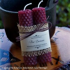 Witchcrafts Artisan Alchemy - BLOOD Burgundy Wine Hand Rolled Pure Beeswax Spell Taper Candles, Set of 2, $9.95 (http://www.witchcraftsartisanalchemy.com/blood-burgundy-wine-hand-rolled-pure-beeswax-spell-taper-candles-set-of-2/)