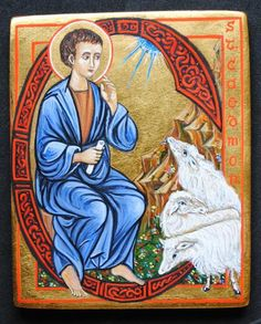 """Icon of Saint Caedmon """"The Earliest English [Northumbrian] poet whose name is known painted by Marchela Dimitrova"""