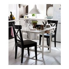 IKEA - INGATORP, Drop-leaf table, Table with drop-leaves seats 2-4; makes it possible to adjust the table size according to need.The clear-lacquered surface is easy to wipe clean.