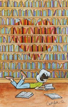 Enamorada de la lectura (ilustración de Cat York)