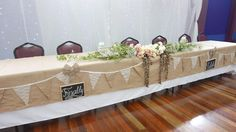 Bridal table with rustic theme