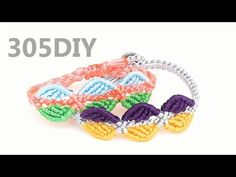 [305DIY]마크라메 배색 나뭇잎 매듭팔찌만들기, macrame color colour matching leaf knot bracelets DIY tutorial - YouTube