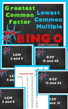35 Bingo Cards included! Project the slide and your students will find the GCF or the LCM of a set of 2 numbers. Instructions for Bingo included. After playing Bingo once a few days later we reviewed again by racing to find answers. Both ways are a great review of greatest common factors and lowest common multiples!