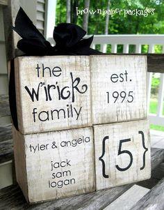 family blocks, cute idea